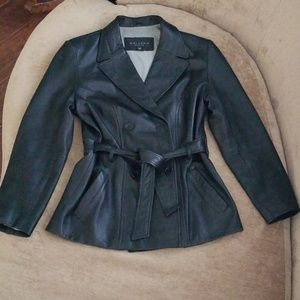 GALLERY 100% genuine leather jacket with belt